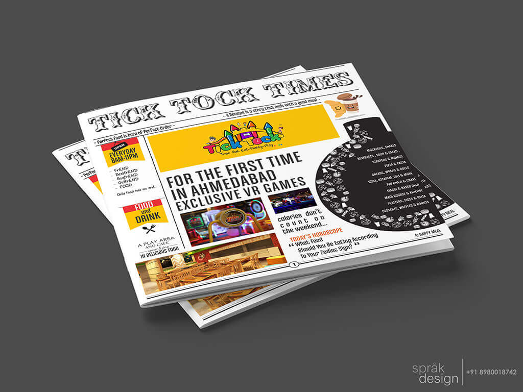 Tick Tock Newspaper Menu